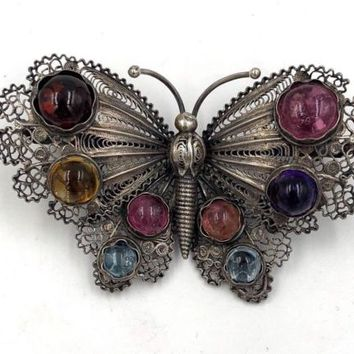 Vintage Sterling Silver filigree butterfly Jeweled Brooch Pin