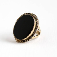 Vintage 12k Yellow Gold Filled Black Onyx Cocktail Ring - Retro Size 8 Adjustable Oval Dark Gem Cannetille Filigree Statement Chunky Jewelry