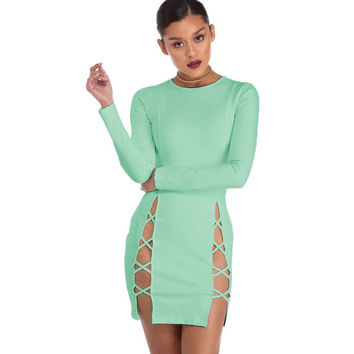 Hot Slits Green Mini Dress