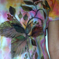 Painted Autumn Leaf Design on Tie Dye T by PaintedDesignsByLona