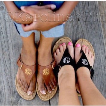 Monogrammed Sandals in black or brown. A must for your spring/summer wardrobe.   These wont last long so get yours now
