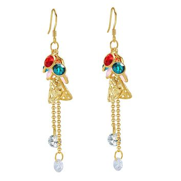 Fancy Magical Dangling Long Stud Style Colorful Crystals Gold-Tone Lucky Charms Amulet Earrings