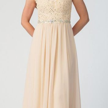 Champagne Evening Gown Illusion Neckline Appliqued Bodice