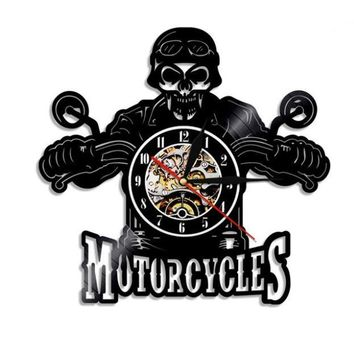 Skull Motor Cycle Decorative Vinyl Record Wall Clock