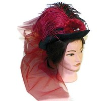 Victorian Steampunk Vintage Retro Tea Top Hat Black Red Costume