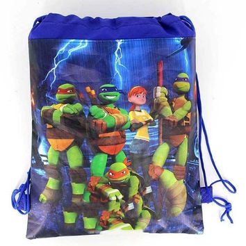1PCS Boys Favors Ninja turtles Design Mochila Baby Shower Party Non-woven Fabrics Happy Birthday Decorate Drawstring Gifts Bags