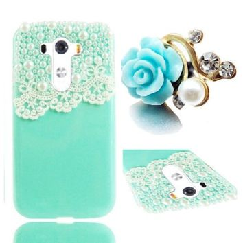 Vandot 3D Lady Lace Pearl Hard Case for LG G3 Bundle with 3.5mm Blue Diamond Crystal Rhinestone Camellia Flower Anti Dust Plug (Green Turquoise)