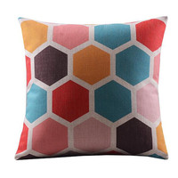 Blue Pink Orange Red Circle Cellular Square Design For Pillow Cotton Linen Case, Pillow Cushion Case 18 x 18 inches