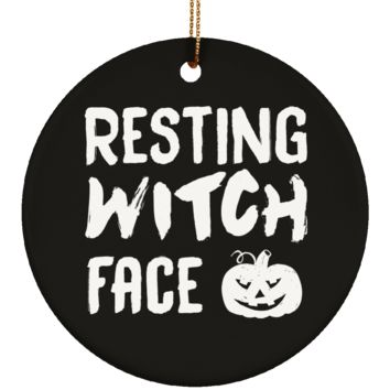 Resting Witch Face Halloween Ornament Ceramic Circle Shape 3.25 Inches (Black)