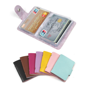 Fashion 24 Bits Useful Business Credit Card Holder PU Leather Buckle Cards Holders Organizer Manager For Women Men Free Shipping