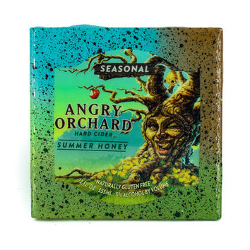 Angry Orchard - Summer Honey - Handmade Recycled Tile Coaster