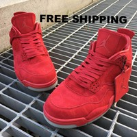 """[FREE SHIPPING] KAWS x Air Jordan 4 """"RED"""" Unisex Leather Basketball Shoes"""