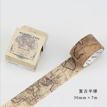 Hemisphere Gothic Map Washi Paper Tape Decorative Crafting Scraping Paper Adhesive Masking Tape Diary Decoration supplies