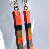 Delicate Coral Green Striped Hanji Paper Dangle Earrings OOAK Handmade Striped Hypoallergenic hooks Lightweight