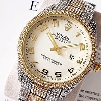 ROLEX full diamond men's and women's personalized wild quartz movement watch