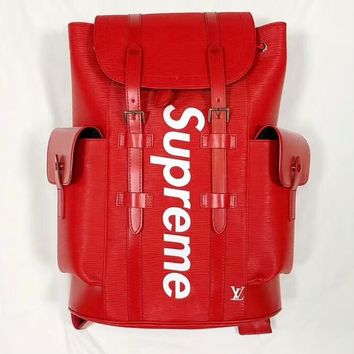 Supreme x LV co-branded classic water ripple hip hop street sports backpack F-MYJSY-BB red