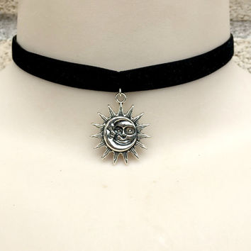 Sun and Moon Velvet Ribbon Choker Necklace
