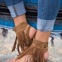 Love Festival Laser Cut Fringe Sandals (Tan)