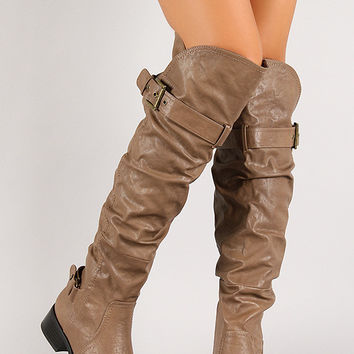 Belted Strap Screw Slouchy Knee High Riding Boot