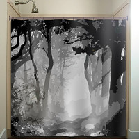 misty shades of gray woods forest tree shower curtain bathroom decor fabric kids bath white black custom duvet cover rug mat window