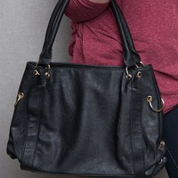 Lucky 21 Ring & Grommet Faux Leather Tote Handbag - Black
