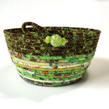 Coiled Rope Basket in Lime Green and Brown - Clothesline Basket - Organizer Bowl - Summer or Irish Decor - Handmade Homemade Quilted Fiber