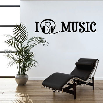I Love Music Wall Decal Heart Headphones Decals Wall Vinyl Sticker Interior Home Decor Art Wall Decor Music Recording Studio Bedroom SV5861