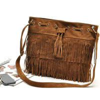 Tassel Fringe Buckle Drawstring Messenger Bag With Adjustable Shoulder Strap
