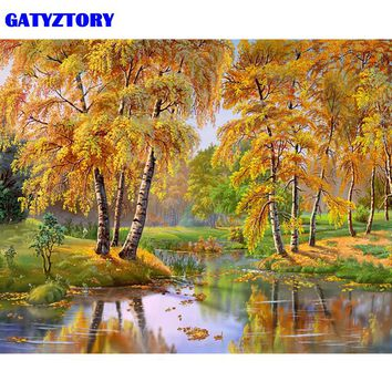 GATYZTORY Frameless Picture Forest River DIY Painting By Numbers Landscape Modern Home Wall Art Canvas Painting 40x50cm Artwork