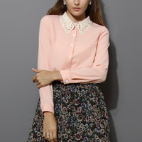 Crochet Pearl Collar Chiffon Shirt in Pink Pink