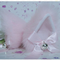 PINK fur inner WHITE Kitty Cat Ear FOX ear Hair Clip Bell set pink ribbon Cosplay Costumes Party Black Friday Cyber Monday