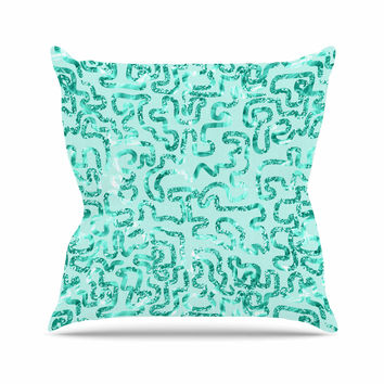 """Anneline Sophia """"Squiggles in Teal"""" Green Abstract Throw Pillow"""