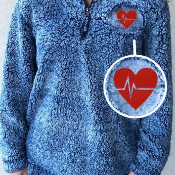 Heart Line Sherpa Pullover