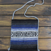 Tribal Boho Bag Aztec Cross Body Bag Upcycled Mexican Blanket Bag Navy and Gray Tribal Bag or Back pack