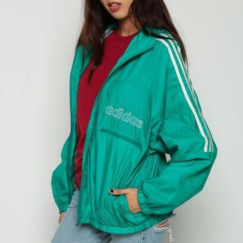 ADIDAS Windbreaker Jacket HOODIE Jacket Hood 90s Nylon Striped Hooded Green Stripe Spo