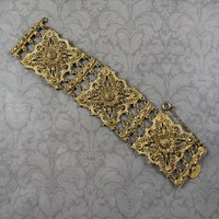 Vintage Gold Brass Indo-Craft Etruscan Revival Filigree Wide Linked Bracelet