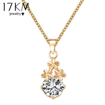 17KM 2016 New Flower Water Drop Necklaces & Pendants Gold Color Charm Necklaces Maxi collares Silver Color Women Necklace