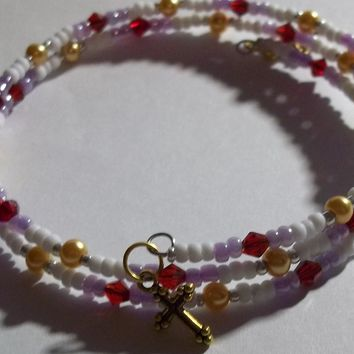 Plus Size Elegance Crosses Deep Red, Lavender, Gold, White & Silver Glass Artisan Crafted Beaded Wrap Bracelet  (L-XXL)