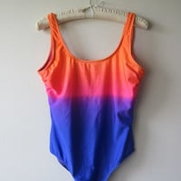 90s Swimsuit Bathing Suit Leotard in Orange / Purple / Blue Ombre Rainbow - Club Kid, Seapunk, EDM Summer Festival Fashion