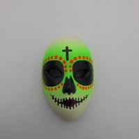 Halloween / Day of the Dead Dia de los Muertos Calavera medium Sugar Skull Hand-painted porcelain mask Neon Yellow/Green, Orange and Purple