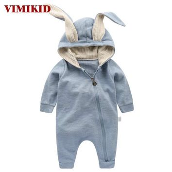 VIMIKID Newborn Baby Girls Boys Clothing Romper Cotton Long Sleeve Jumpsuit Playsuit Bunny Outfits One piecer 3D Ear Clothes