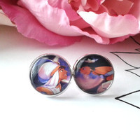 Inspired Fan Art - Jasmine & Aladdin Stud Earrings - Aladdin - Princess Jasmine - Disney Earrings - Disney Jewlery