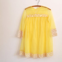 bright yellow nightgown - 60s vintage bright mini lingerie nighty - sheer nylon and lace - half sleeves - small