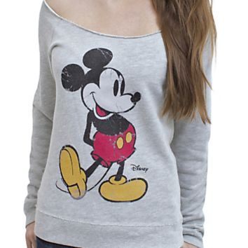 Mickey Mouse Off the Shoulder Fleece - Women's Tops - Long Sleeve - Junk Food Clothing