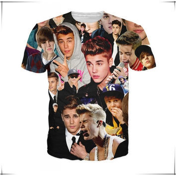 Unisex Tops Justin bieber Pattern Crewneck Short Sleeve Loose Casual T-Shirt Men's Fashion = 5617293953