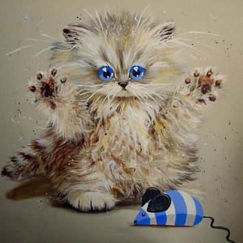 5D Diamond Painting Blue Eye Puff Cat Collection Kit
