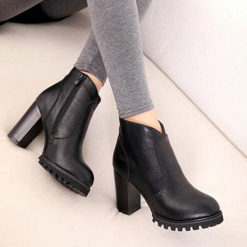 2015 Autumn Winter Ankle Boots New Fashion Cut-Outs Platform Women Boots Sexy High Heels Casual Pumps Ladies Shoes Woman