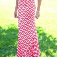 Hot Pink Chevron Maxi Skirt