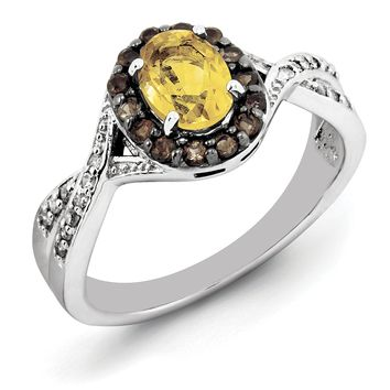 Sterling Silver Oval Citrine with Smoky Quartz Halo And Diamond Ring