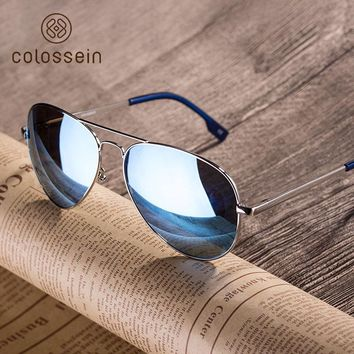 COLOSSSEIN Fashion Metal Sunglasses Men Retro Oval Frame Glasses Popular Polarized Style New Trendy Hot Sale
